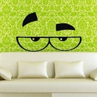 Wall Decals Eyes in Glasses Decal Vinyl Sticker Home Decor Bedroom Nursery Interior Window Decals Living Room Art Murals Chu1378