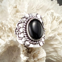 Black Onyx Ring ~ Size 10