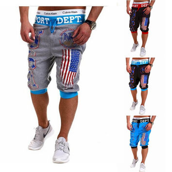Pants Men Print Sportswear Casual Capri [6544208963]