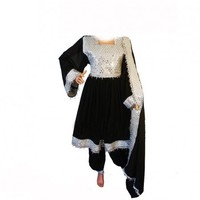Afghan Kuchi Dress In Black Color With Sheesha Dozi