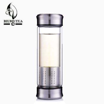 BIUBIUTUA Double Cover Water Bottle Glass Double Wall Tea Glass Bottles With Stainless Steel Filter Sport Water Tumbler