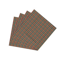 Tan & Blue Plaid, Red Pink Lines Napkin Set of 4