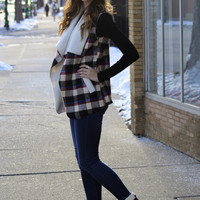 Plaid Faux Fur Vest