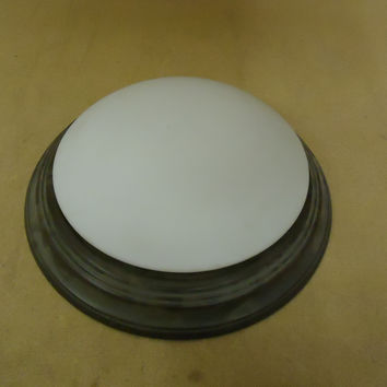 Designer Ceiling Light Round 18in D x 5in H Antique Bronze 3 Bulb Metal Glass -- Used
