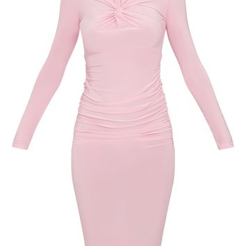 Baby Pink Long Sleeve Knot Front Midi Dress