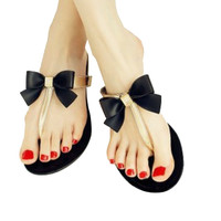 Bow Thong Jelly Sandals