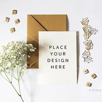 Styled Stock Photography - Product Presentation - Design Mockup for Print & Invitation -  Baby Breath and Portrait Card on a White Desktop