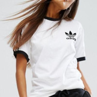 adidas Originals Unisex Olive Green Three Stripe Boyfriend T-Shirt