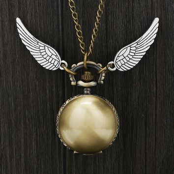Hot New Smooth Ball Shape Snitch Pocket Watch Quartz Double Wings Retro Bronze Necklace Pocket Watch Gifts for Boy Girl