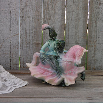 Hull Pottery Knight on Horseback, Planter, Mid Century,  Pink, Green, Blue, Ceramic, Hull, Knight, Horse, Vintage