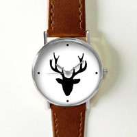 Antler Watch Deer Watches for Men Women Leather Ladies Vintage Jewelry Accessories Gifts Spring Fashion Unique Personalized Custom Made Boho