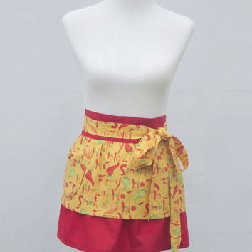 Womens Half Apron, Chili Peppers Print, 100% Cotton, Short two Layered Flirty Sassy Skirt, Hostess, Birthday Shower Holiday Gift