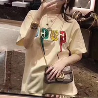 """Gucci"" Women Simple Casual Letter Print Round Neck Short Sleeve T-shirt Tops"