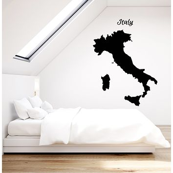 Vinyl Wall Decal Italy Country Map Journey Traveling Stickers (3561ig)