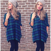 Blue Plaid Long Sleeve Buttoned Shirt