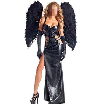 New Arrival Leather Dark Angel Costume Cosplay Sexy Maxi Dress Leather Carnival Adult Gothic Halloween Costumes with Wing