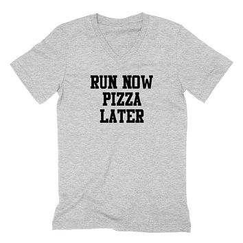 Gym, fitness athletic outfit, run now pizza later, motivation, inspiration  V Neck T Shirt
