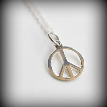 TWO SISTERS Peace Sign Sterling Silver Necklace