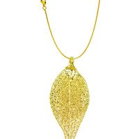 Real Leaf PENDANT with Chain EVERGREEN in 24K Yellow Gold Genuine Leaf Necklace