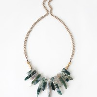 Moss Agate Spike Stone Statetement Necklace