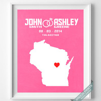 Personalized, Print, Wisconsin, Wedding, Anniversary, Customized, Family, State, Groom, Bride, Wall Art, Home Decor, Marriage, Love [NO 49]