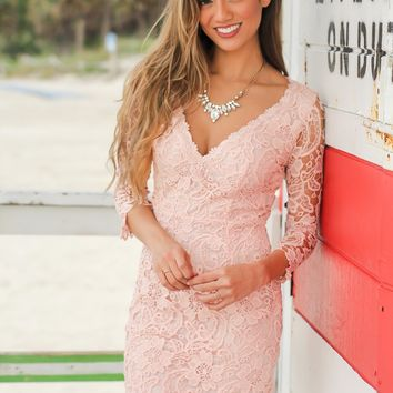 Blush Crochet V-Neck Short Dress with 3/4 Sleeves
