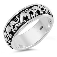 Sterling Silver Antiqued Elephant Spinner Ring