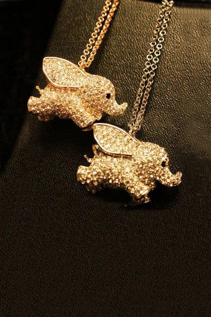 Twinkling Luck Elephant Pendant Necklace [AN0766] - $18.99 :