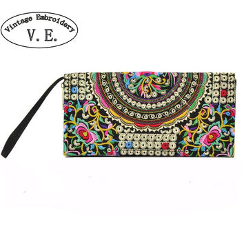 Vintage Embroidery Women Wallet Purse Handmade Ethnic Flowers Embroidered Woman Long Wallet Day Clutch Small Handbag
