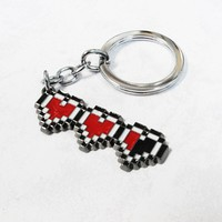 8-Bit Hearts Keychain, key chain keyring heart containers gaming geek