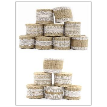 2y/lot 5-6cm Natural Jute Burlap Hessian Ribbon with Lace Trims Jute Wedding Event Party Cake Supplies 047005021