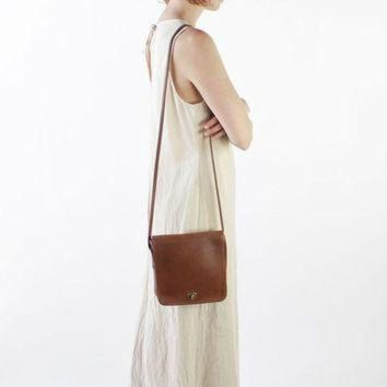 ONETOW Vintage 80s Brown Leather Small Cross Body Coach Bag