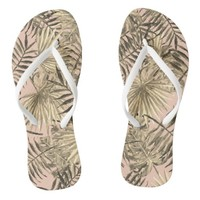 Palm leaf tropical flip flops
