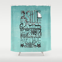 A Ship in Port Shower Curtain by Tiki