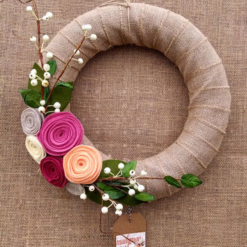 Peach and pink wreath, natural color felt flower and berry wreath, burlap wrapped floral wreath, large 14 inch size, ready to ship