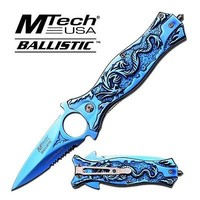 Mtech Ballistic Series Blue Dragon Spring Assist Assisted Knife Knives #A707TBL