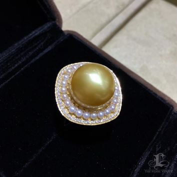 13-14 mm Golden South Sea Pearl Ring Pendant, 18k Gold w/ Diamond - AAAA
