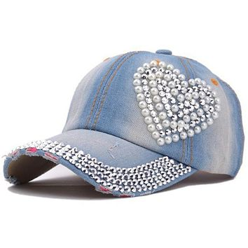 New High Quality Cool Crystal Floral Denim Baseball Cap Bling Rhinestone Hip Hop Adjustable Snapback Hat Gorra For Women