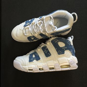 "Louis vuitton x Supreme x Nike Air More Uptempo AIR Basketball Sneaker ""Sup White/Blue"" 921948-100"