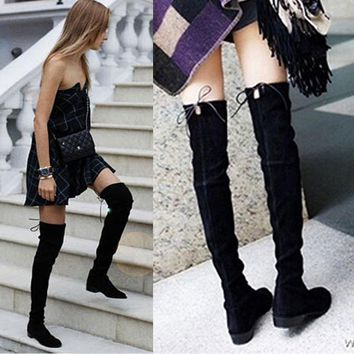 2017 Faux Suede Sexy Over The Knee Boots Winter Thigh High Boots Shoes Woman Lace Up Zipper Slim Stretch Snow Boots Size 35-39