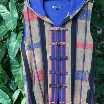 Tribal Mens Hoodie Vest With Fringe In Tan And Blue Authentic Tribal Naga Waist Coat - Derek