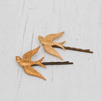 BIRD Bobby Pin Set Woodland Wedding Boho Autumn Golden Bird Romantic Whimsical (2)