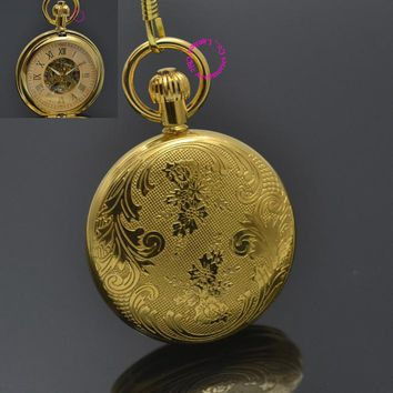 Men Mechanical Pocket Watch Roman Classic Fob Watches Flower Design Retro Vintage Gold Ipg Plating Copper Brass Good Quality