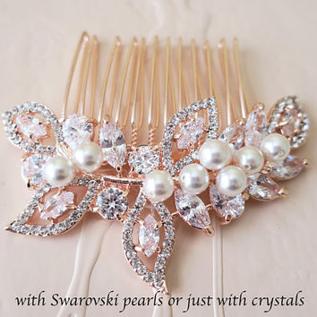 Rose Gold Bridal Comb Crystal Wedding Hair Comb Cubic Zirconia Bridal Hair Jewelry Art Deco Headpiece Swarovski Pearl Leaf Leaves LEXY Bride