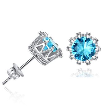Fashion Classic CZ Crown Stud Earrings For men and women