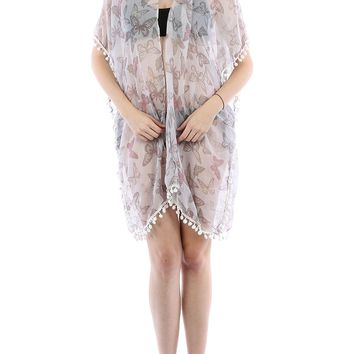 White Butterfly Print Sheer Cover Up Poncho