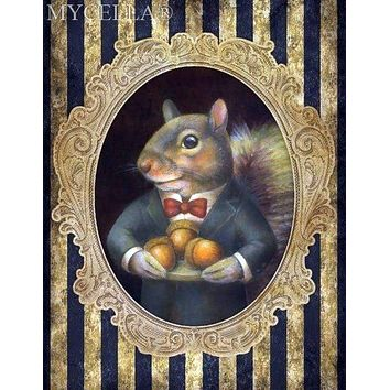5D Diamond Painting Squirrel with Acorns Wall Portrait Kit
