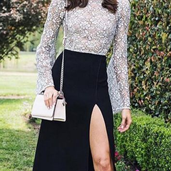 Tea Party Long Sleeve Lace Crew Neck Side Slit A Line Bandage Midi Dress - 2 Colors Available