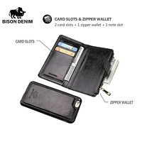 Genuine Leather IPhone Wallet Case Card Holder I Phone Leather Cover Flip Wallet With Coin Pocket