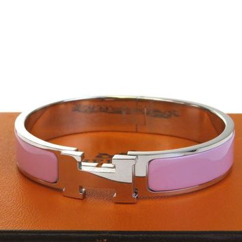 Gotopfashion Authentic HERMES H Logo Bracelet Bangle Plastic Silver Plated Accessory 32BD516